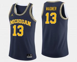 Mens Michigan #13 Moritz Wagner Navy College Basketball Jersey 116311-136