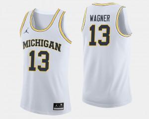 For Men U of M #13 Moritz Wagner White College Basketball Jersey 210206-765