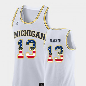 Men Michigan #13 Moritz Wagner White USA Flag College Basketball Jersey 508210-662
