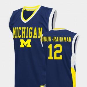 For Men Michigan #12 Muhammad-Ali Abdur-Rahkman Blue Fadeaway College Basketball Jersey 333879-496