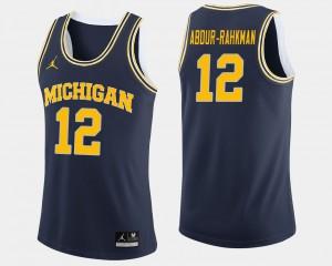 For Men's Michigan #12 Muhammad-Ali Abdur-Rahkman Navy College Basketball Jersey 739829-615