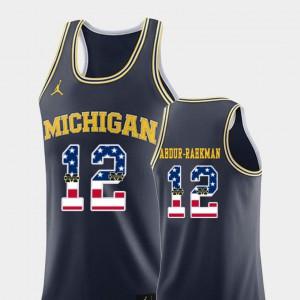 Men's U of M #12 Muhammad-Ali Abdur-Rahkman Navy USA Flag College Basketball Jersey 313745-552