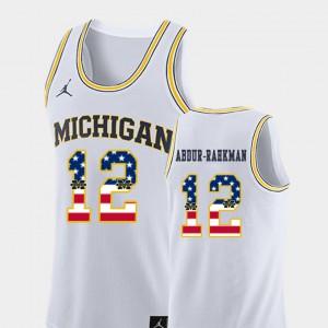 For Men's Wolverines #12 Muhammad-Ali Abdur-Rahkman White USA Flag College Basketball Jersey 707732-380