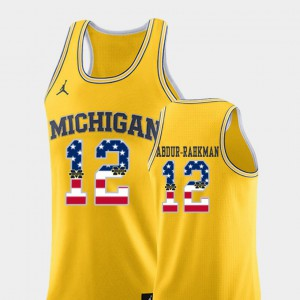 Men University of Michigan #12 Muhammad-Ali Abdur-Rahkman Yellow USA Flag College Basketball Jersey 775993-604