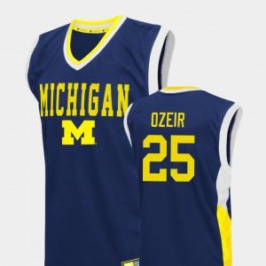 For Men's Michigan Wolverines #25 Naji Ozeir Blue Fadeaway College Basketball Jersey 375255-246