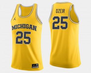 For Men's Michigan #25 Naji Ozeir Maize College Basketball Jersey 740919-969