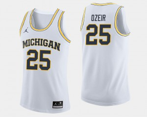 For Men's Michigan #25 Naji Ozeir White College Basketball Jersey 234985-599