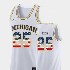 For Men U of M #25 Naji Ozeir White USA Flag College Basketball Jersey 975770-386
