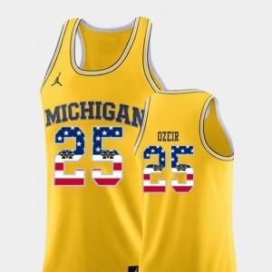 Men's Michigan #25 Naji Ozeir Yellow USA Flag College Basketball Jersey 588463-422
