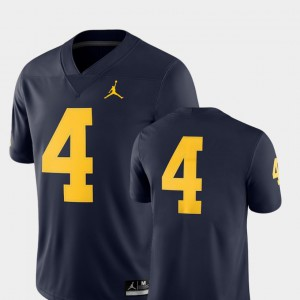 For Men University of Michigan #4 Navy College Football 2018 Game Jersey 260086-856