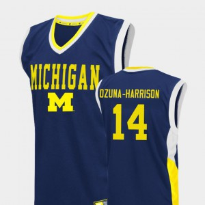 Mens U of M #14 Rico Ozuna-Harrison Blue Fadeaway College Basketball Jersey 225399-653