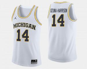For Men's Michigan Wolverines #14 Rico Ozuna-Harrison White College Basketball Jersey 262899-696