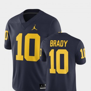 Men Wolverines #10 Tom Brady Navy Alumni Football Game 2018 Jersey 134676-731