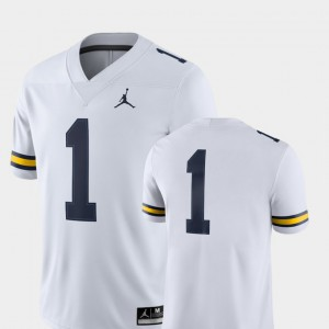 Mens Michigan #1 White College Football 2018 Game Jersey 467574-423