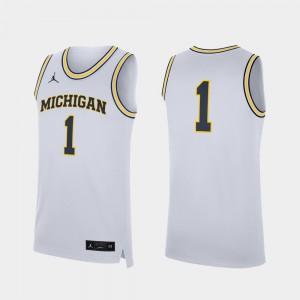 For Men U of M #1 White Replica College Basketball Jersey 674690-850