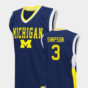 For Men's Michigan #3 Zavier Simpson Blue Fadeaway College Basketball Jersey 457394-359