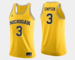 Mens Michigan #3 Zavier Simpson Maize College Basketball Jersey 134464-138