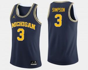 Men's Michigan #3 Zavier Simpson Navy College Basketball Jersey 461653-439