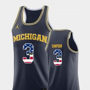 For Men Michigan Wolverines #3 Zavier Simpson Navy USA Flag College Basketball Jersey 338589-304
