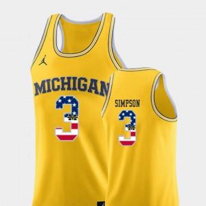Mens University of Michigan #3 Zavier Simpson Yellow USA Flag College Basketball Jersey 601326-684
