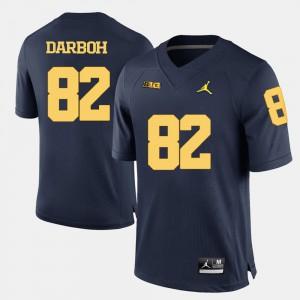 Men University of Michigan #82 Amara Darboh Navy Blue College Football Jersey 150796-568