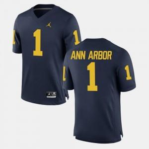 Men U of M #1 Ann Arbor Navy Alumni Football Game Jersey 753223-465