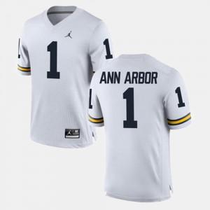 Men Michigan #1 Ann Arbor White Alumni Football Game Jersey 965999-769