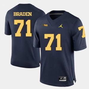 For Men University of Michigan #71 Ben Braden Navy Blue College Football Jersey 414297-934