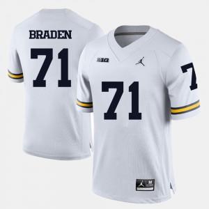 Men's Wolverines #71 Ben Braden White College Football Jersey 666326-802