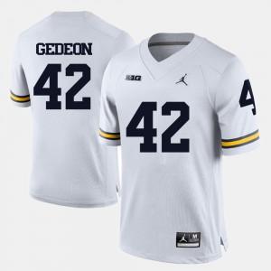 Men's Michigan #42 Ben Gedeon White College Football Jersey 269542-909