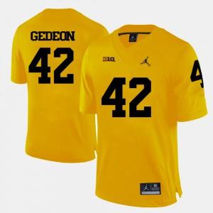 For Men's U of M #42 Ben Gedeon Yellow College Football Jersey 914516-384