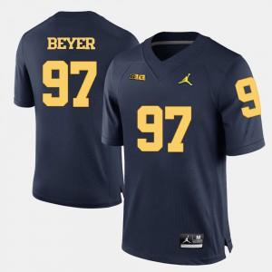 Mens U of M #97 Brennen Beyer Navy Blue College Football Jersey 476601-968