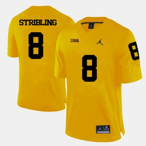 Mens Wolverines #8 Channing Stribling Yellow College Football Jersey 200970-221