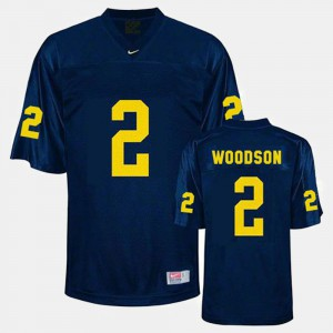 For Men Michigan #2 Charles Woodson Blue College Football Jersey 689586-556