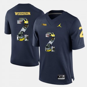 Men U of M #2 Charles Woodson Navy Blue Player Pictorial Jersey 766135-163