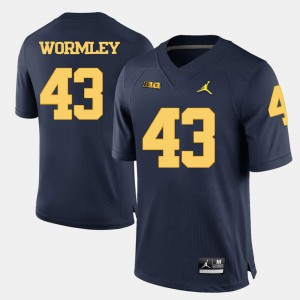 Men University of Michigan #43 Chris Wormley Navy Blue College Football Jersey 498670-376