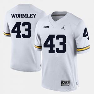 Men University of Michigan #43 Chris Wormley White College Football Jersey 792530-317