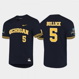 For Men Michigan #5 Christan Bullock Navy 2019 NCAA Baseball College World Series Jersey 624671-757