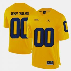Men's Michigan Wolverines #00 Yellow College Limited Football Custom Jerseys 249369-853