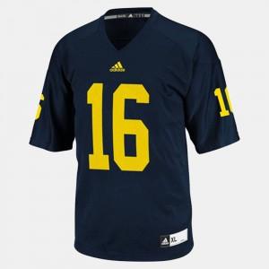 For Men Wolverines #16 Denard Robinson Blue College Football Jersey 412727-760