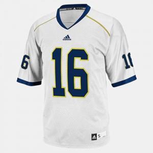 Youth(Kids) Michigan #16 Denard Robinson White College Football Jersey 536828-563