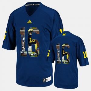 For Men U of M #16 Denard Robinson Navy Blue Player Pictorial Jersey 765183-507