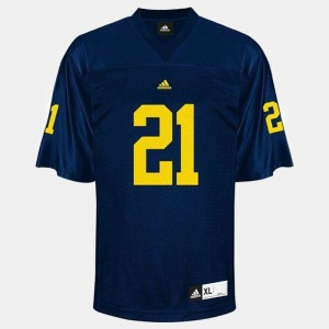 For Men's Wolverines #21 desmond Howard Blue College Football Jersey 872222-809
