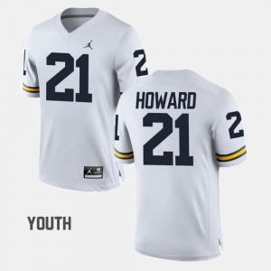 For Kids Michigan #21 desmond Howard White College Football Jersey 947704-923