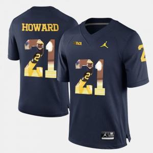 For Men's Wolverines #21 Desmond Howard Navy Blue Player Pictorial Jersey 827685-565