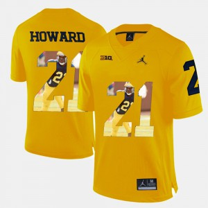 Mens Wolverines #21 Desmond Howard Yellow Player Pictorial Jersey 907009-247