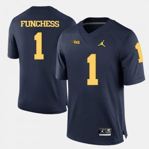 For Men University of Michigan #1 Devin Funchess Navy Blue College Football Jersey 609766-219