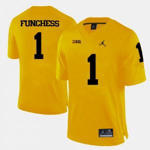 Men's Michigan #1 Devin Funchess Yellow College Football Jersey 119817-385