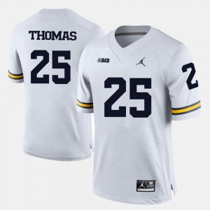 For Men U of M #25 Dymonte Thomas White College Football Jersey 356279-718