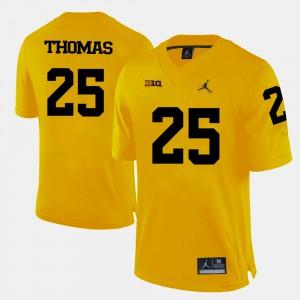 For Men's University of Michigan #25 Dymonte Thomas Yellow College Football Jersey 274301-149